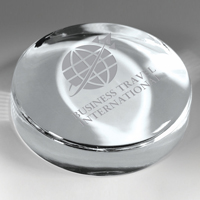 "Prestige Round Glass Paperweight - Screen Imprint 2 7/8"" L x 2 7/8"" W x 1""H"