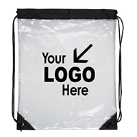 "13"" W x 16"" H - 'Everest' Clear Drawstring Cinch Pack Backpack"