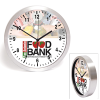 "10"" Brushed Metal Wall Clock with Glass Lens"