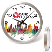 "14"" Brushed Metal Wall Clock with Glass Lens"