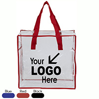 "12"" W x 12"" H x 6"" Clear Vinyl Stadium Compliant Tote Bag with Zipper"