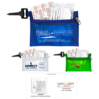 10 Piece Healthy Living Sun Kit Components inserted into Translucent Zipper Pouch with Plastic Carabiner Attachment