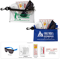 14 Piece Golf Kit in Supersized Zipper Pouch Components inserted into Zipper Pouch with Plastic Carabiner Attachment
