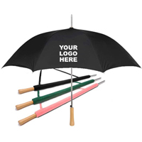 Wood Grain Handle Umbrella with Custom Logo