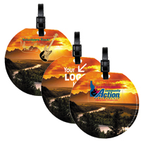 Jumbo Round PhotoImage Full Color Imprint Kwik Seal Luggage Bag Tag
