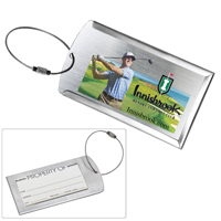 'Prestige' Brushed Metal Luggage Bag Tag (PhotoImage 4 Color)
