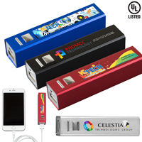 """In Charge Alloy"" UL Listed Aluminium 2200 mAh Lithium Ion Portable Power Bank Charger (Photoimage Full Color)"