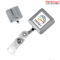 Cord Square Chrome Solid Metal Retractable Badge Reel and Badge Holder