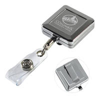 32 Cord Square Chrome Solid Metal Retractable Badge Reel and Badge Holder with Laser Imprint