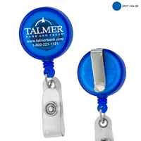 30 Cord Round Jumbo Imprint Retractable Badge Reel with Metal Slip Clip Backing and Badge Holder (Spot Color Print)