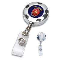 Cord Round Chrome Solid Metal Sport Retractable Badge Reel & Badge Holder