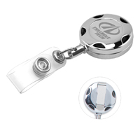 32 Cord Round Chrome Solid Metal Sport Retractable Badge Reel and Badge Holder with Laser Imprint