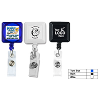 "30"" Cord Square Retractable Badge Reel with Metal Slip Clip Backing and Badge Holder"