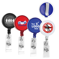 "30"" Cord Round Retractable Badge Reel with Rotating Alligator Clip Backing and Badge Holder"