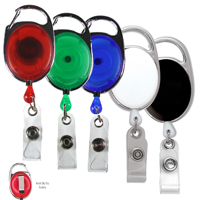 Blank Carabiner Style Retractable Badge Reel with Metal Slip Clip Back