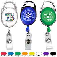 "30"" Cord 4 Color Process Retractable Carabiner Style Badge Reel and Badge Holder"