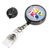 30 Cord Gunmetal Colored Solid Metal Retractable Badge Reel and Badge Holder with Full Color Vinyl Label Imprint