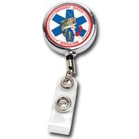 "30"" Cord Chrome Solid Metal Retractable Badge Reel and Badge Holder with Full Color Vinyl Label Imprint"
