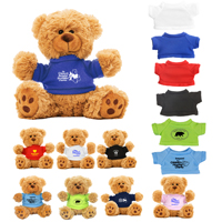 "6"" Plush Teddy Bear with Choice of T-Shirt Color"