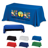 3-Sided Economy 8 ft Table Cloth & Covers w/ Color Imprint