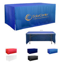 6' 3-Sided Economy Open Corner Table Covers & Table Throws (Spot Color Print) / Fit 6 Foot Table