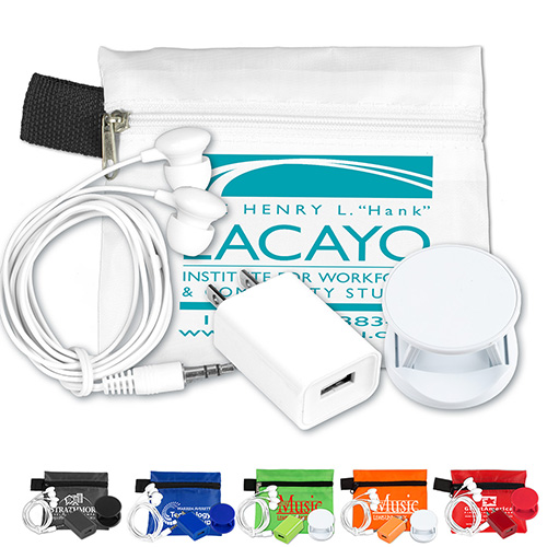 Mobile Tech Auto and Home Accessory Kit in Polyester Zipper Pouch