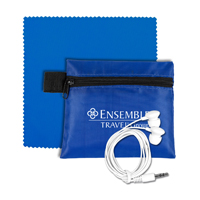 Mobile Tech Earbud Kit with Microfiber Cleaning Cloth in Zipper Pouch.