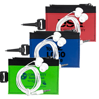 Mobile Tech Earbud Kit in Travel ID Wallet Components inserted into Zipper Pouch ID Wallet