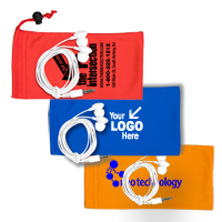 Mobile Tech Earbud Kit in Microfiber Cinch Pouch Components inserted into Microfiber Pouch