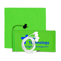 Mobile Tech Earbud Kit with Microfiber Cloth in Microfiber Cinch Pouch Components inserted into Microfiber Pouch