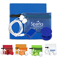 Mobile Tech Auto and Home Accessory Kit in Translucent Carabiner Zipper Pouch