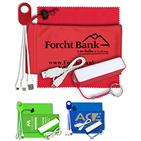 Mobile Tech Power Bank Accessory Kit with Microfiber Cloth in Microfiber Cinch Pouch