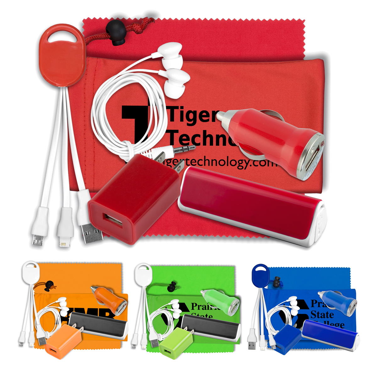 Mobile Tech Integrated Power Bank and Charging Kit with Earbuds and Microfiber Cleaning Cloth in Microfiber Cinch Pouch