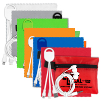 Mobile Tech Charging Cables and Earbud Kit in Zipper Pouch