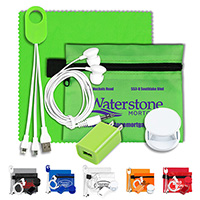 Mobile Tech Home and Auto Charging Kit with Earbuds and Microfiber Cleaning Cloth in Polyester Zipper Pouch