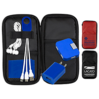 Deluxe Cell Phone Charging and Accessory Travel Kit as shown inserted into Polyester Zipper Pouch