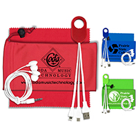 Mobile Tech Earbud Kit with Earbuds in Microfiber Cinch Pouch Components inserted into Microfiber Pouch