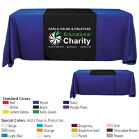 "6' or 8' - 60"" L Table Runners (Spot Color Print) / Fit 6 or 8 Foot Table"