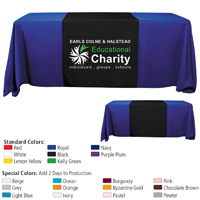 "6' or 8' - 90"" L Table Runners (Spot Color Print) / Fit 6 or 8 Foot Table"