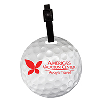 Stock Mini Golf Ball Luggage Bag Tag with Printed ID Panel