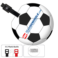 Jumbo Soccer Luggage Bag Tag with Printed ID Panel