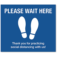 12 x 14 Rectangle Wait Here Floor Decal