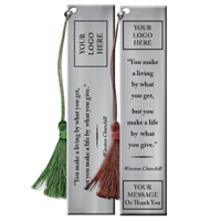 "Custom Pewter Bookmark With Quote ""Make A Life"""