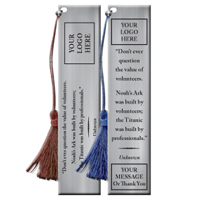 "Custom Pewter Bookmark With Quote""The Value Of Volunteers"""