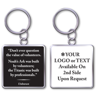 "Keychain With Quote""The Value Of Volunteers"""