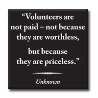 "Magnet With Quote""Volunteers Are Priceless"""