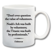 "11 oz. Ceramic Mug With Quote""The Value Of Volunteers"""