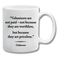 "11 oz. Ceramic Mug With Quote""Volunteers Are Priceless"""