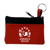 Single Pocket Zipper Coin & Key Pouch With BLACK Trim