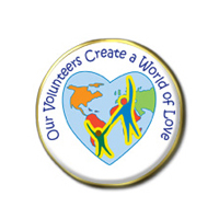 """Volunteers Create a World of Love"" Pins"